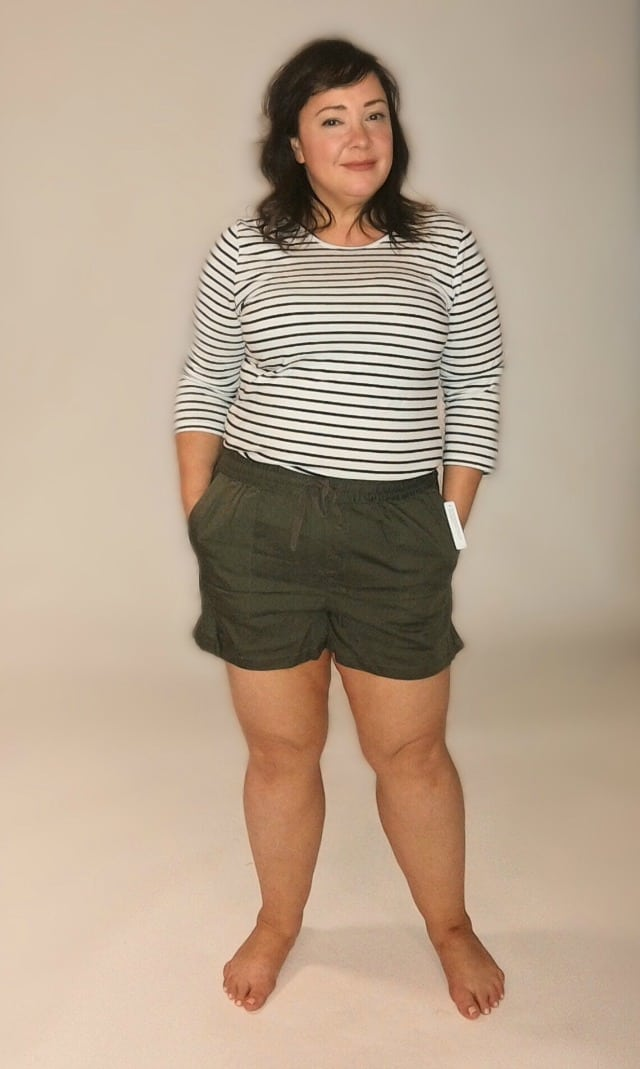 caslon linen shorts front view