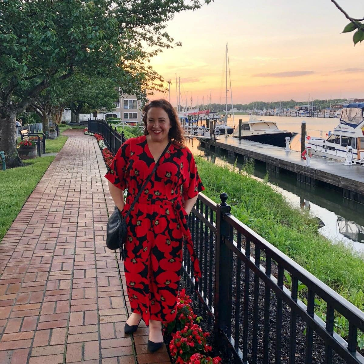 eloquii red floral jumpsuit