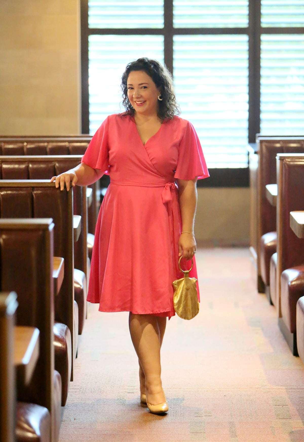 pink plus size wrap dress