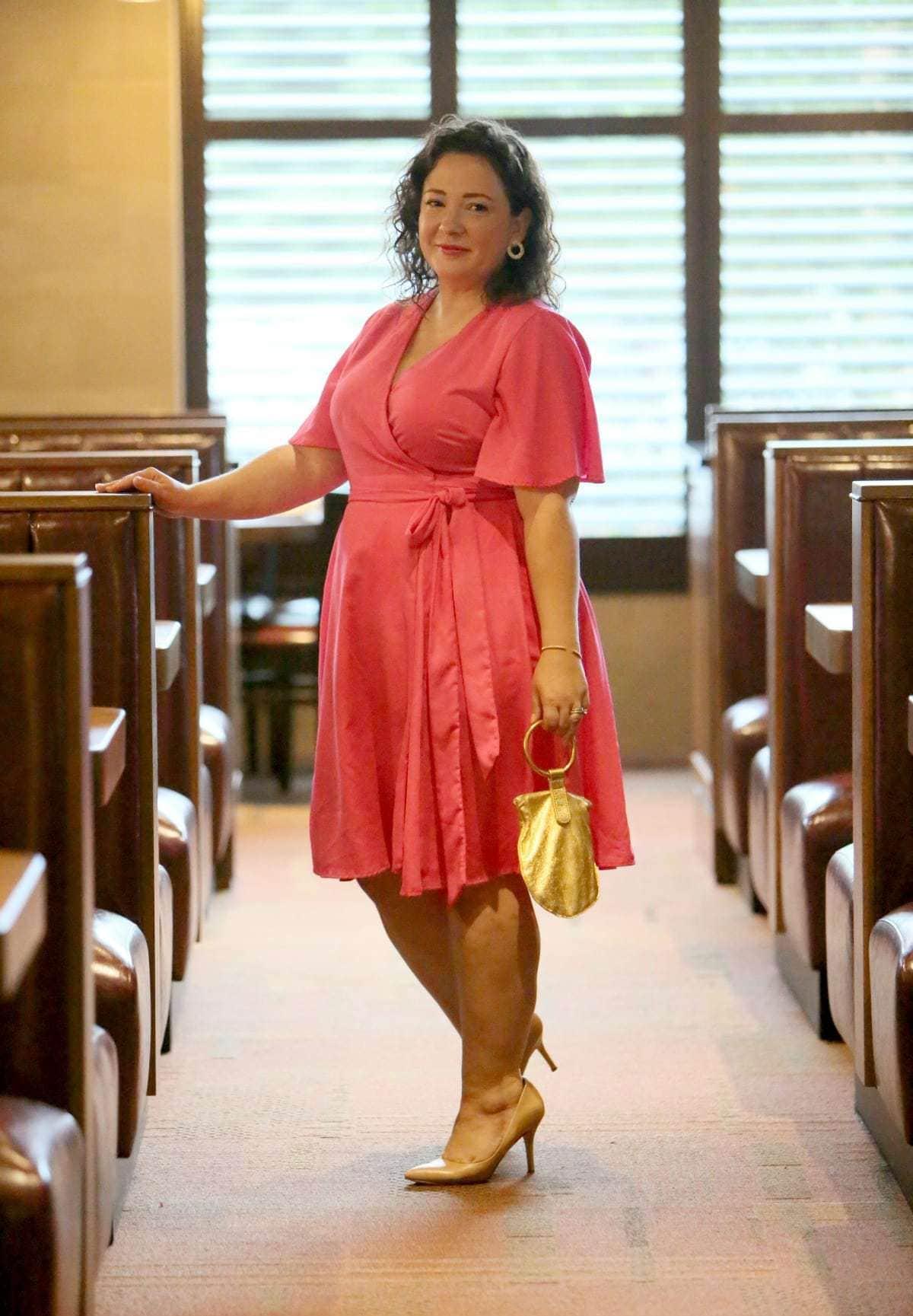plus size wrap dress pink