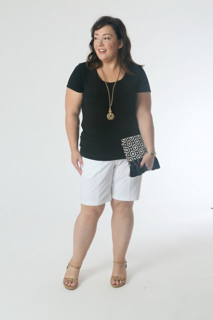 Dress Shorts: On vacation and not sure the formality of a restaurant? Mix high and low with a pair of crisp white shorts, the scoop tee, and a clutch bag.  Sandals with a slight wedge and a pendant necklace add dressiness without being too flashy.