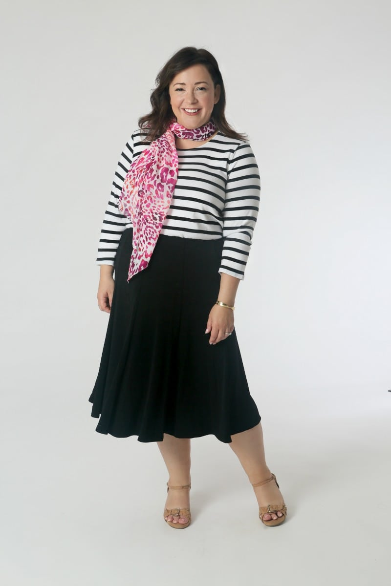Chico's Travelers Collection capsule wardrobe: Striped tee, Travelers Skirt, and scarf