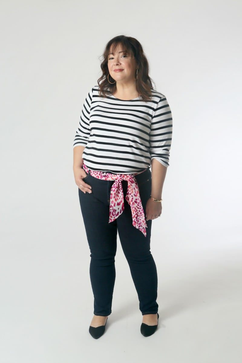 Chico's jeans and striped Pima top