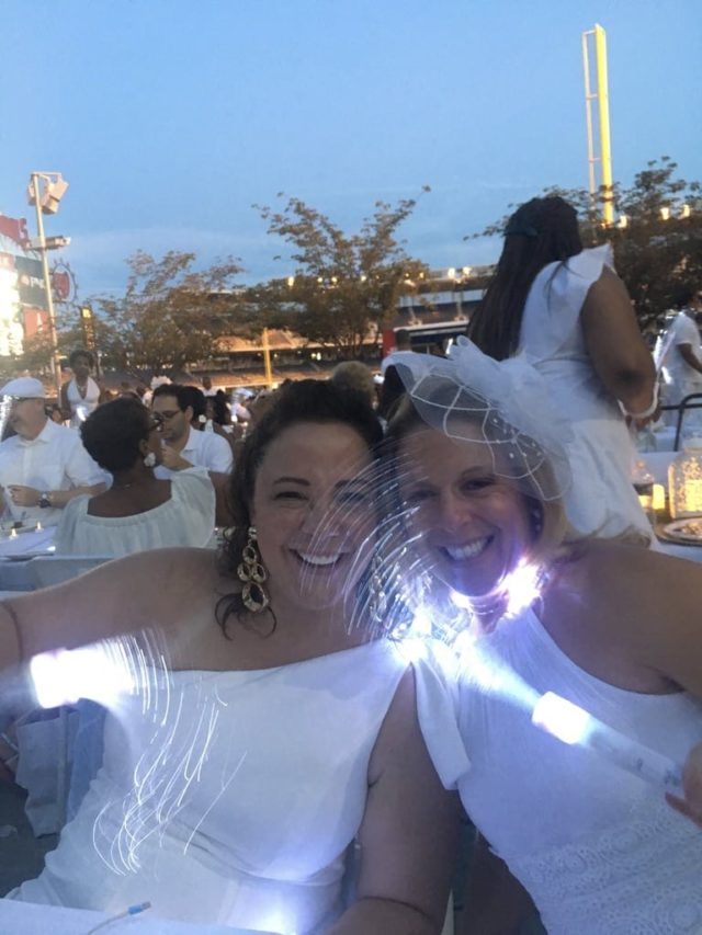 Diner en Blanc DC 2018 at Nationals Park battery operated sparklers