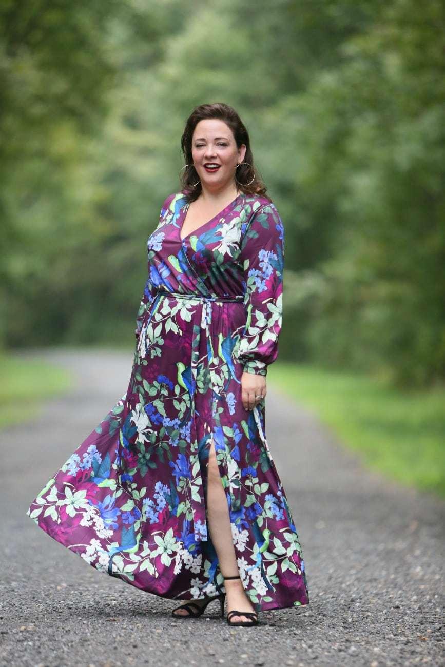 eloquii printed kimono maxi dress