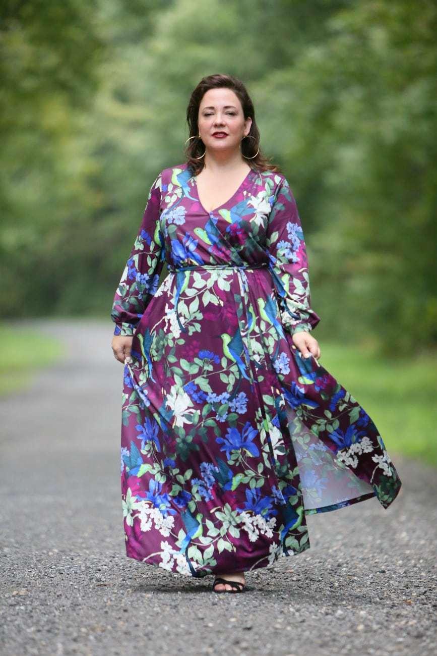 eloquii printed kimono wrap dress