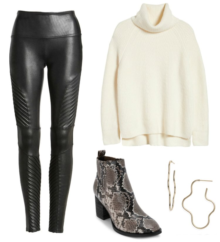 Collage of moto-inspired faux leather leggings styled with a chunky ivory turtleneck sweater and black and white snakeskin ankle booties from Blondo