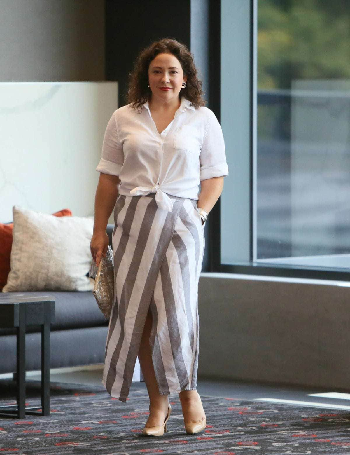 madewell stripe skirt