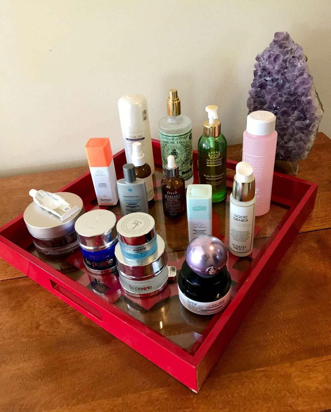 over 50 skincare routine shelfie