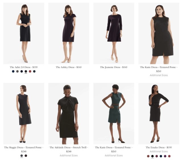 A screenshot of the MM.LaFleur website showing models in a variety of sizes and ethnicities