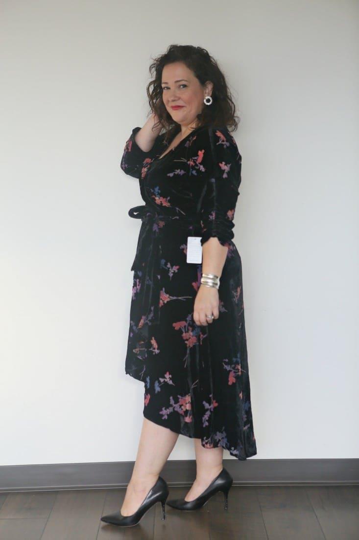 eliza j floral velvet dress