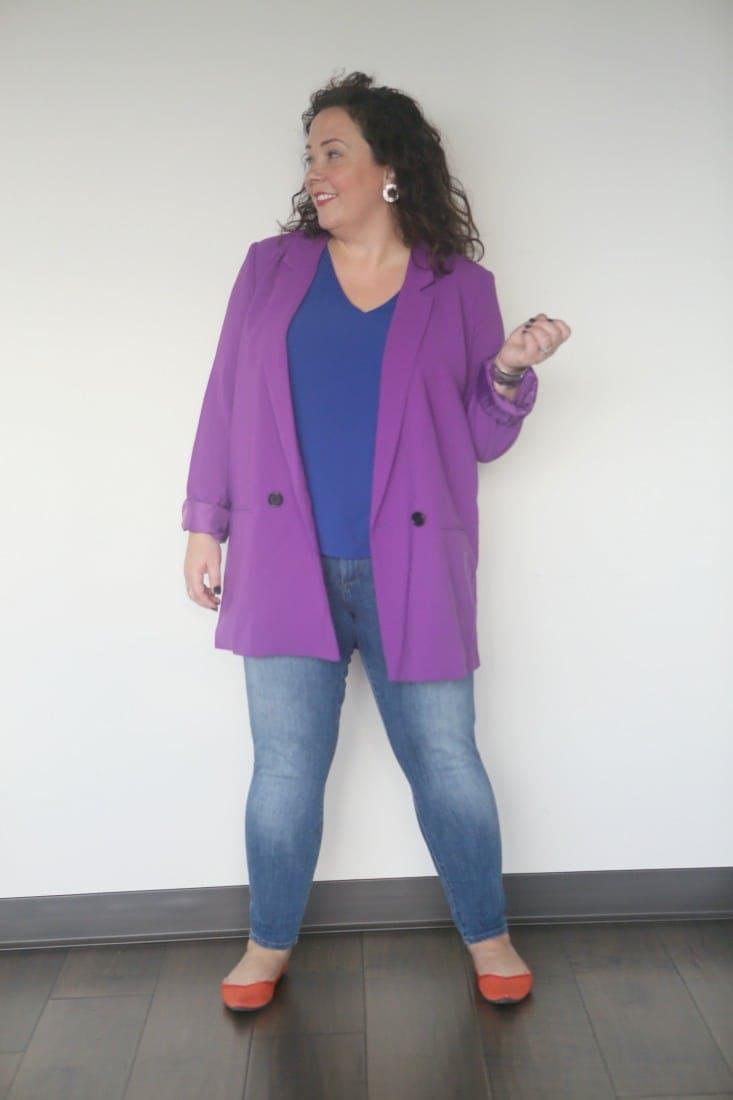 mural oversize blazer purple