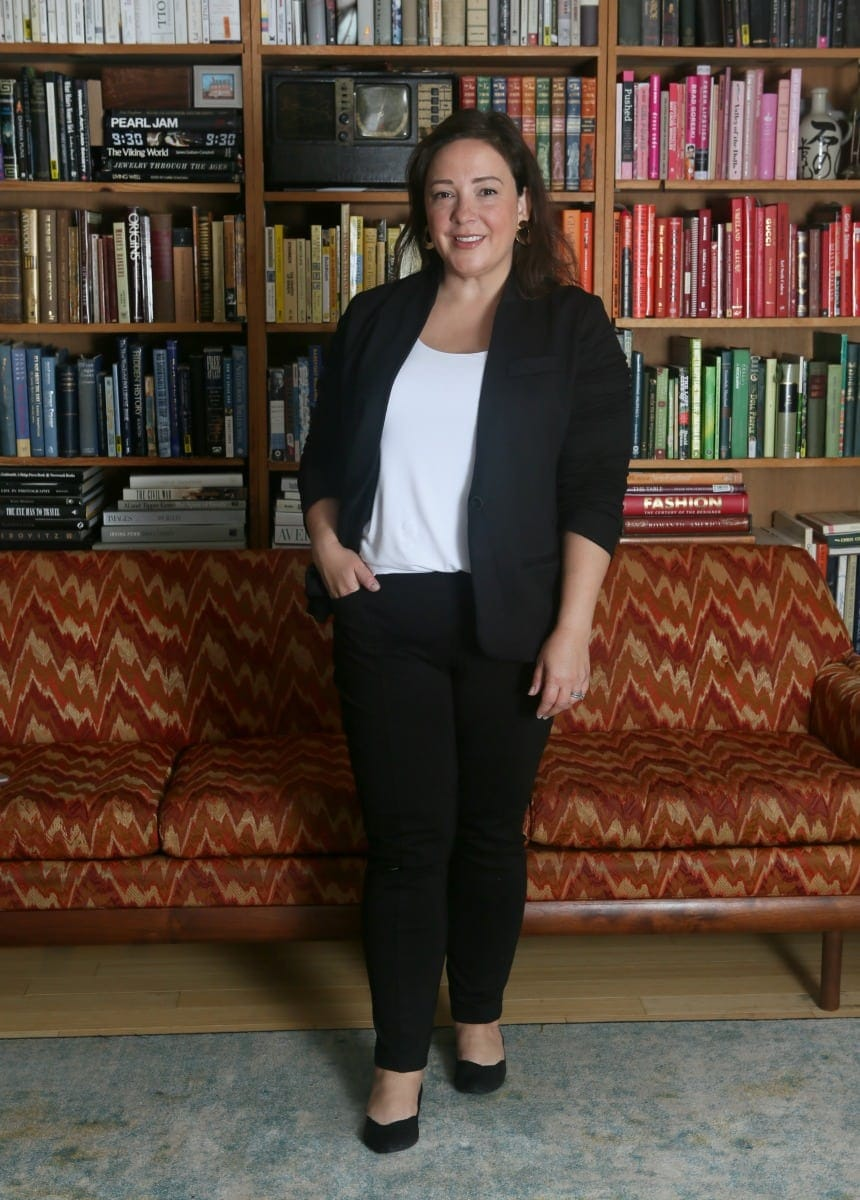 building a work from home wardrobe photo of Alison Gary in Soma Style Essentials blazer and tank and ponte pants