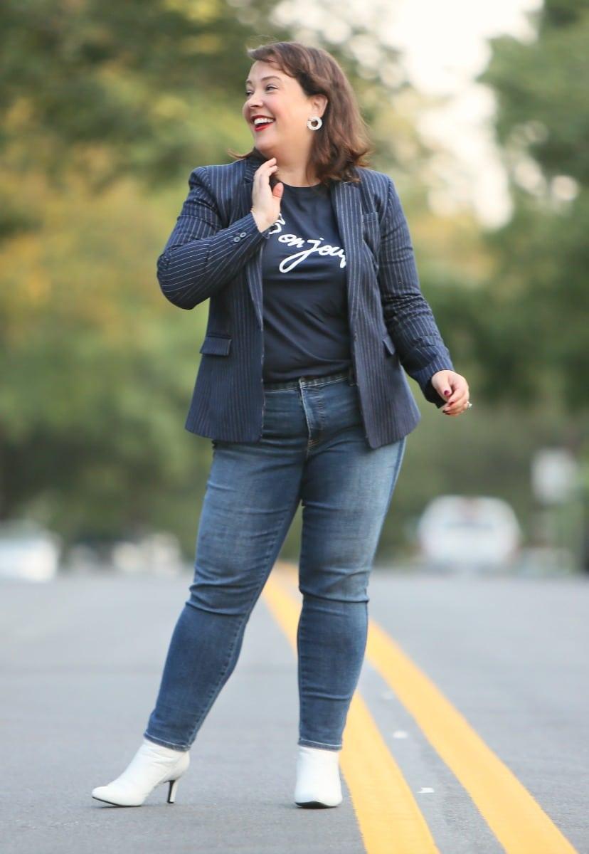 talbots shadow stripe slim ankle jeans