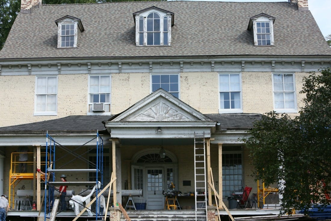 Bostwick House in Bladensburg, Maryland undergoing restoration