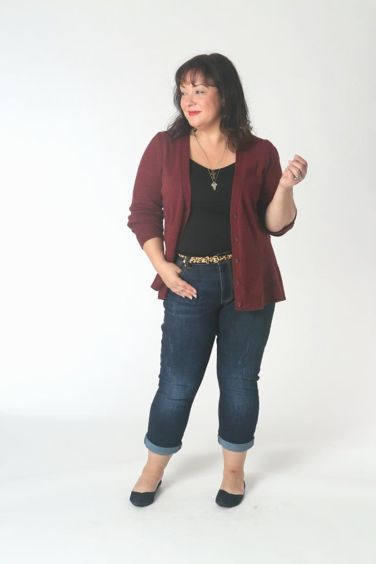 The cabi catch cardigan with the cabi high straight jeans