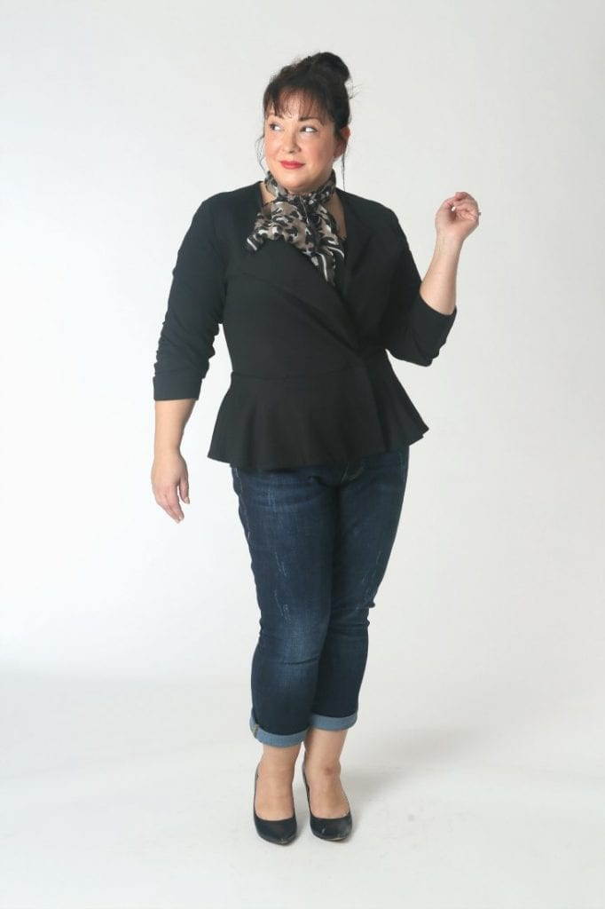 The Cabi Agency Jacket with jeans and a leopard scarf.