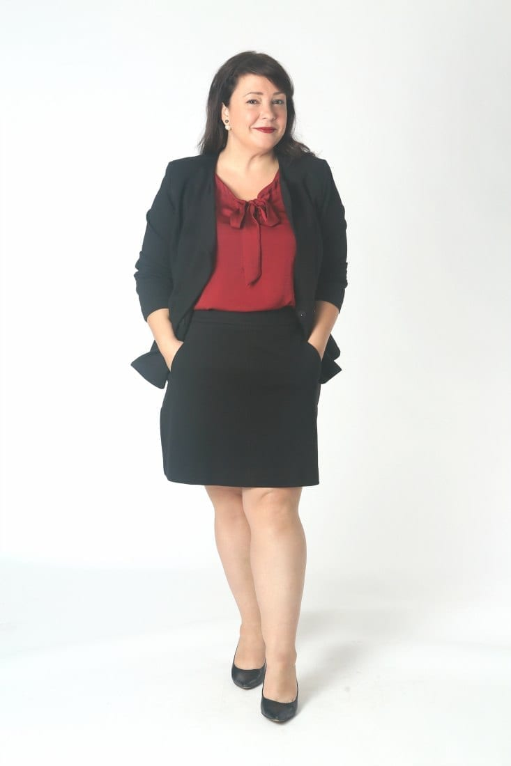 A black ponte skirt suit for the office.