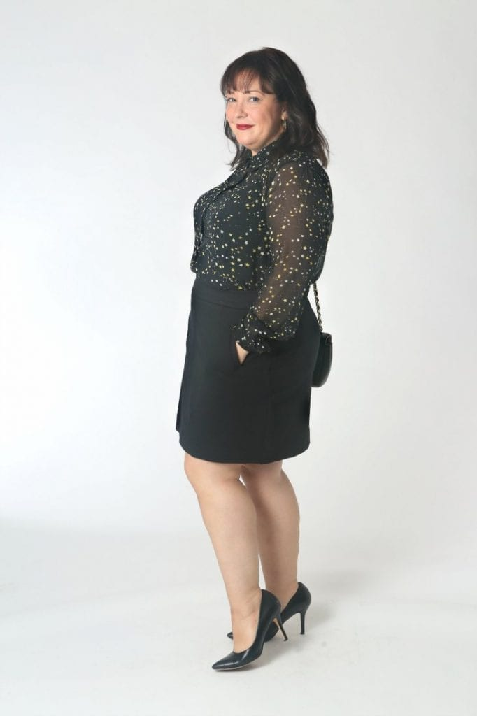 Tha cabi galazy blouse with a ponte a-line skirt