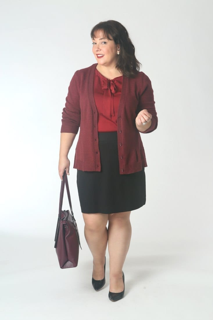 The Reds Have It: A cardigan and ponte skirt is a great office look, come winter add tights and ankle booties.