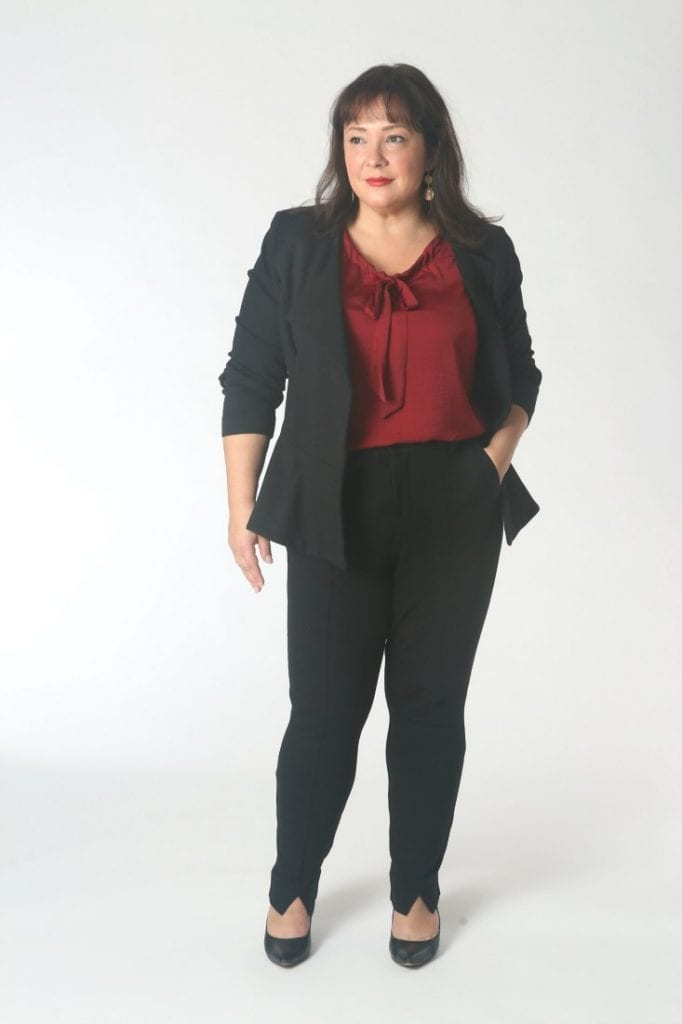 The Cabi Agency Jacket and Trouser with the Cinch Blouse