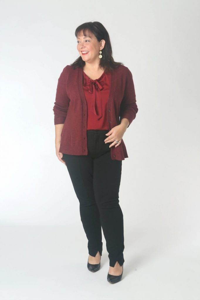 The cabi Cinch Blouse with the Catch Cardigan