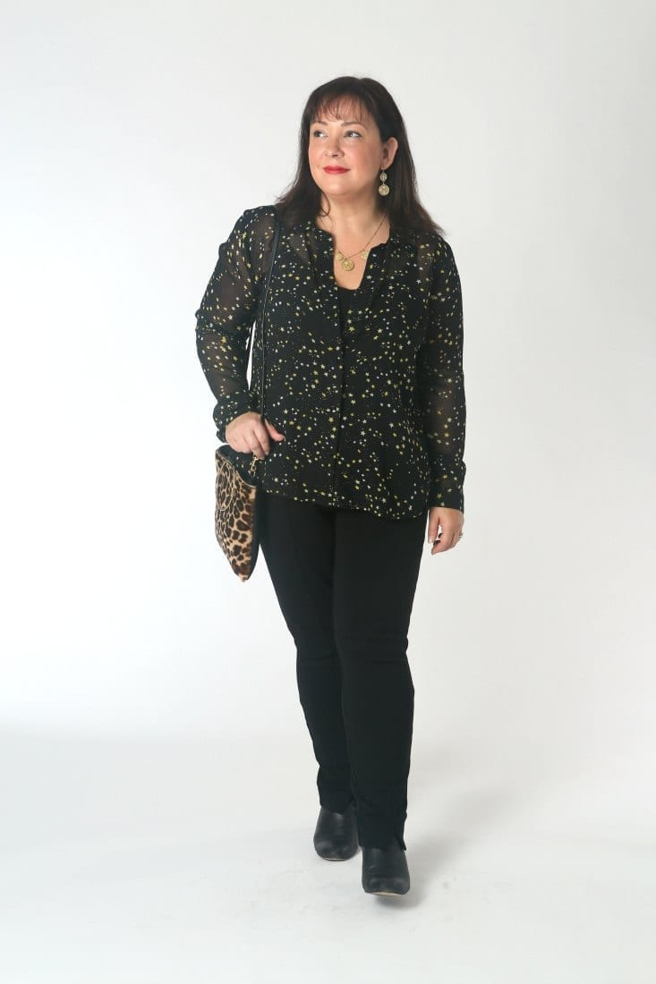 The cabi Galaxy blouse styled for the weekend