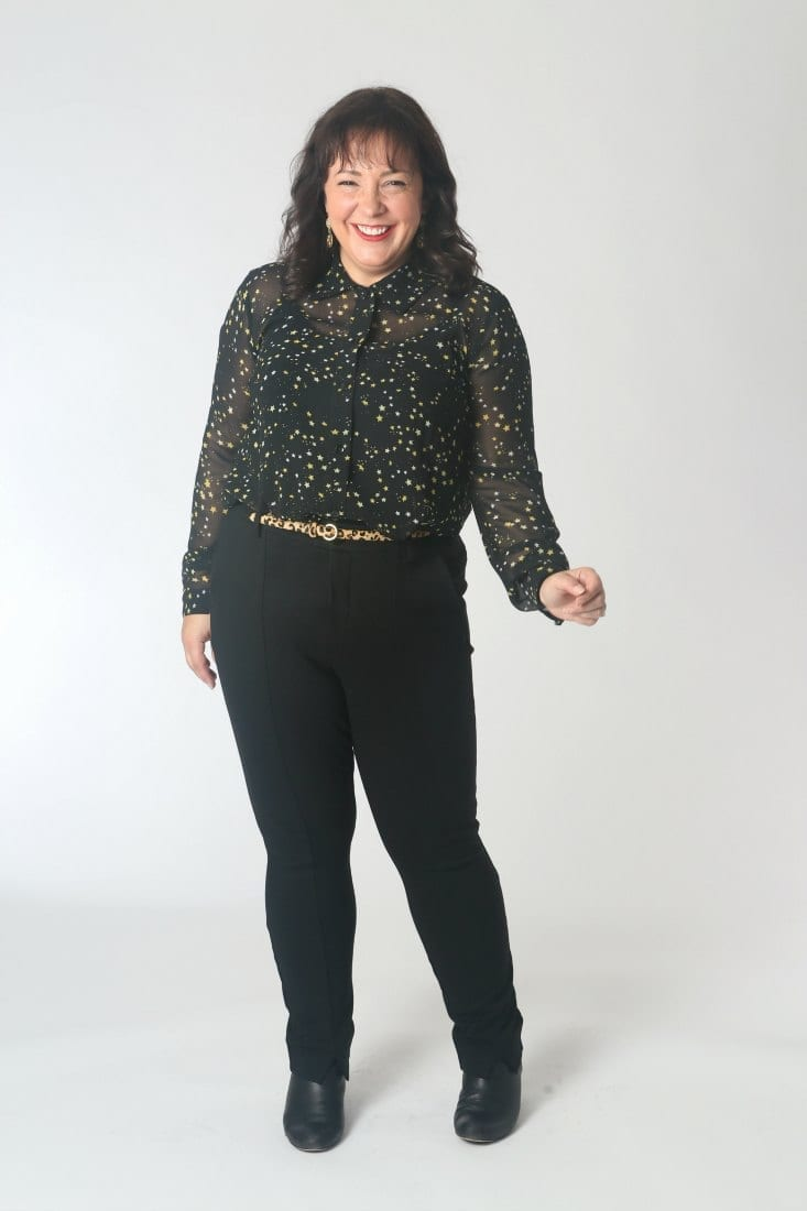 The cabi Galaxy Blouse styled with a leopard skinny belt.