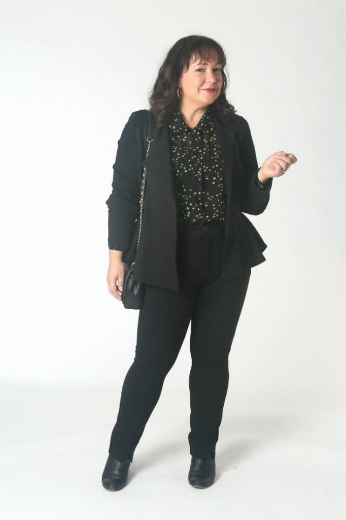 The cabi Agency Jacket and trousers styled with the Galaxy Blouse for work