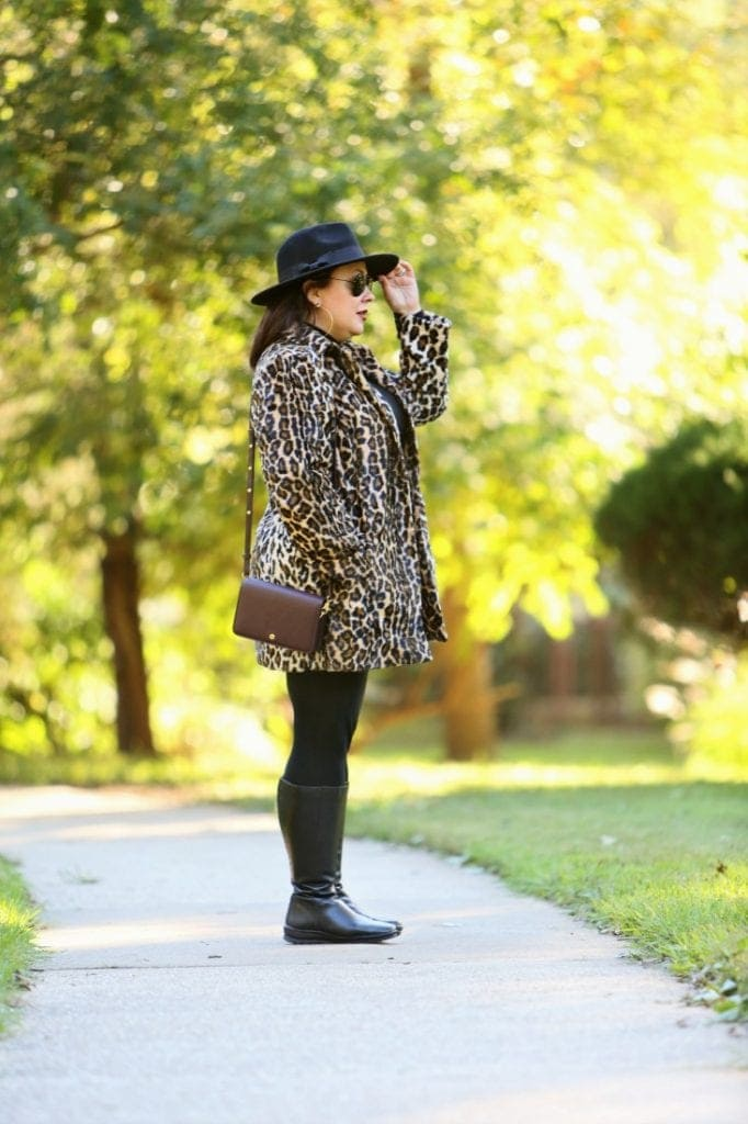 chicos faux fur leopard print coat with the Dagne Dover Andra small crossbody on Alison Gary of Wardrobe Oxygen
