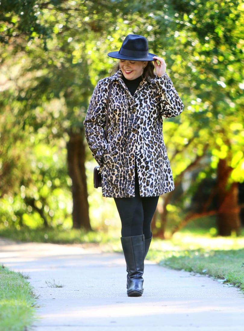chicos leopard faux fur coat fall