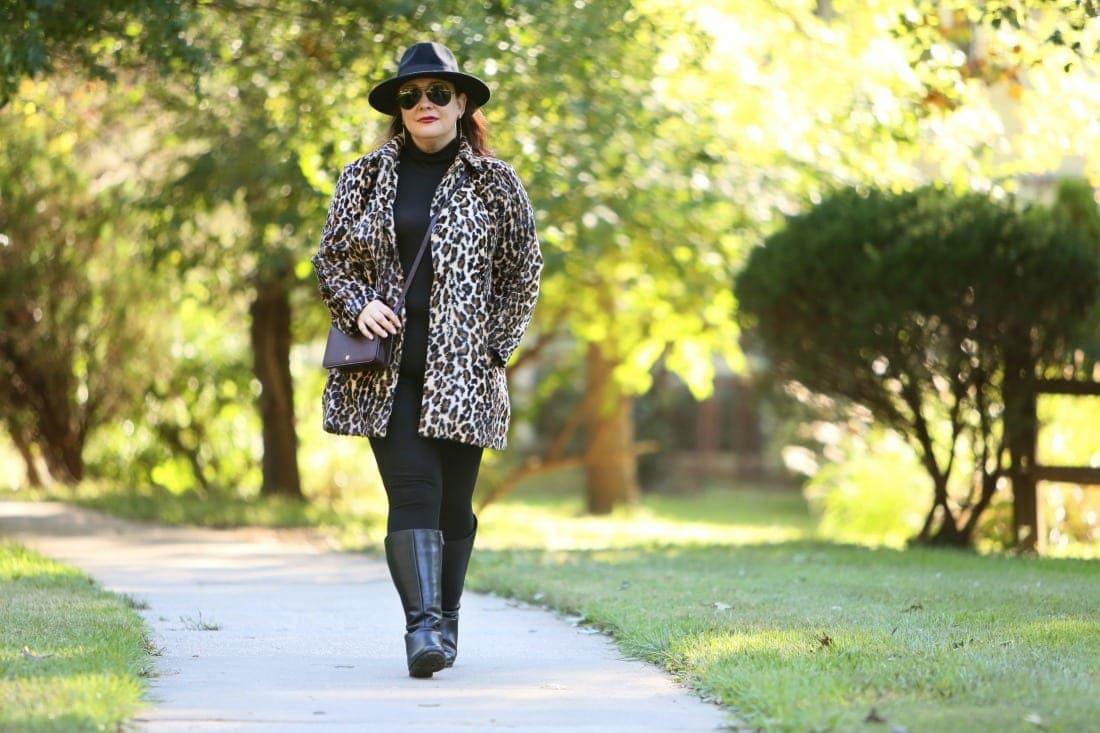 chicos leopard faux fur coat