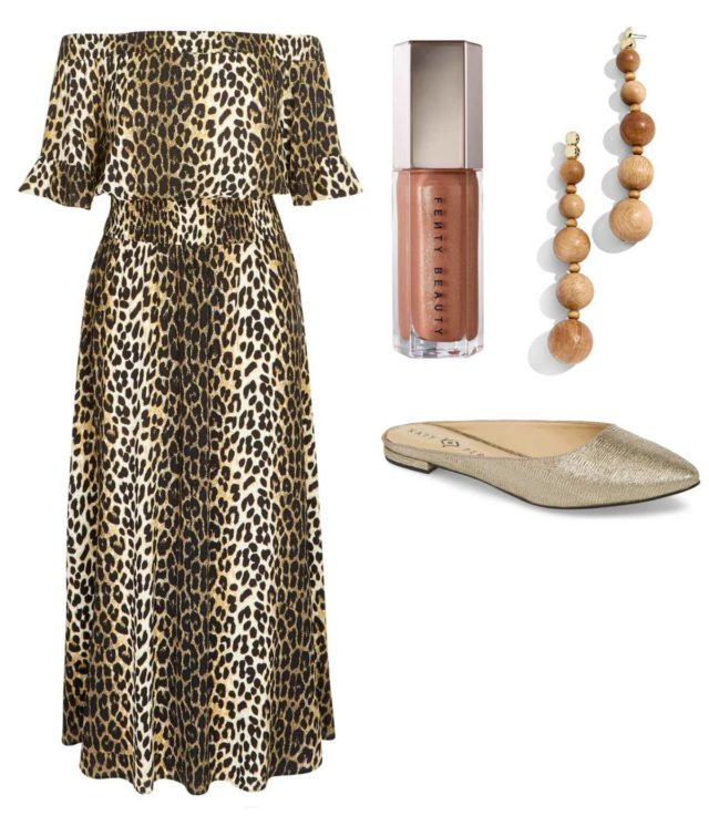 When dressing to hostess an event in your home, you can go glam with leopard prints, silky fabrics, and off the shoulder silhouettes