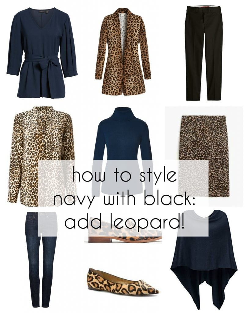 how to style navy with black tips on adding leopard for more style and polish