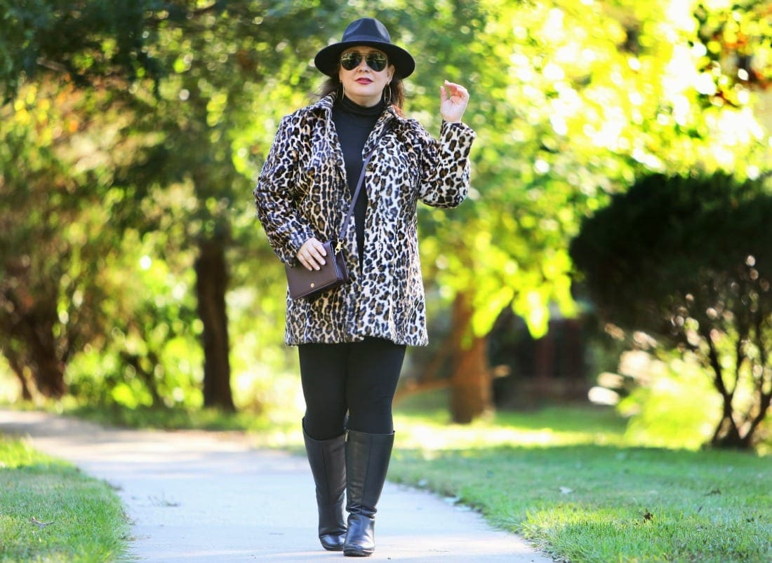 leopard print faux fur coat from chicos