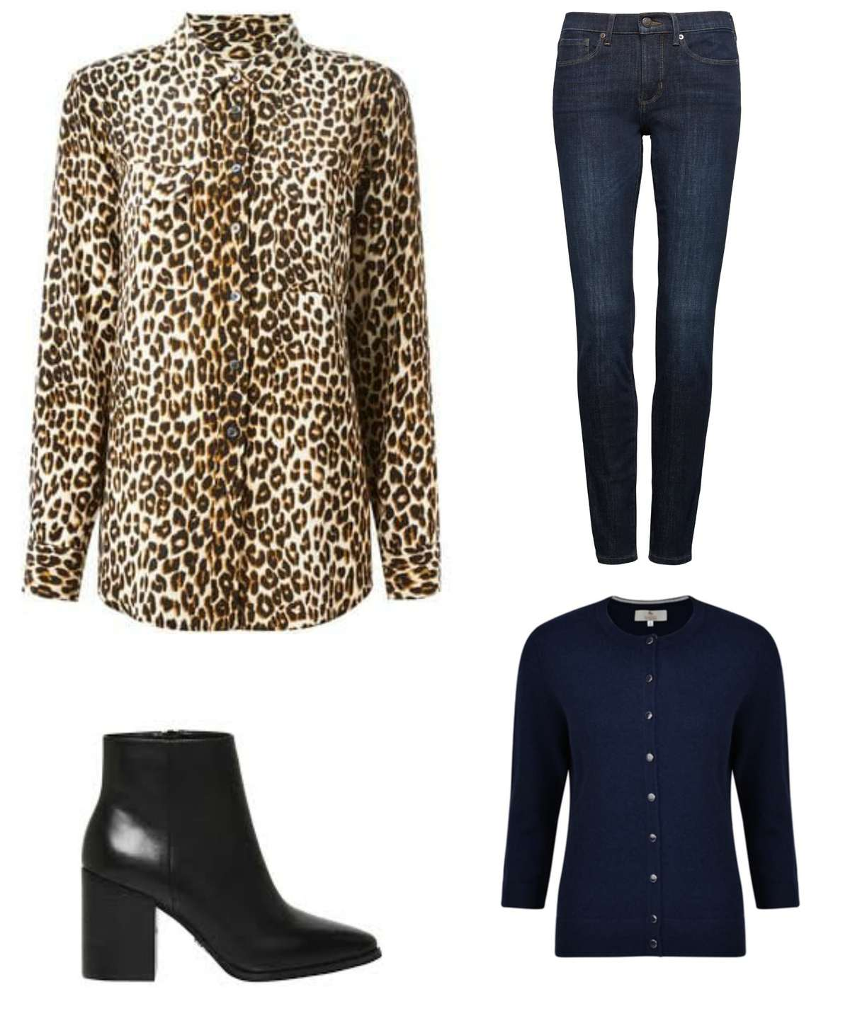 leopard styled wwith black navy and denim