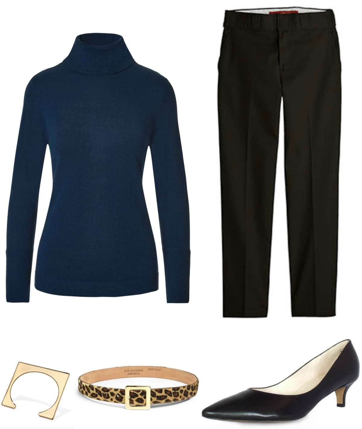 navy styled with black and leopard