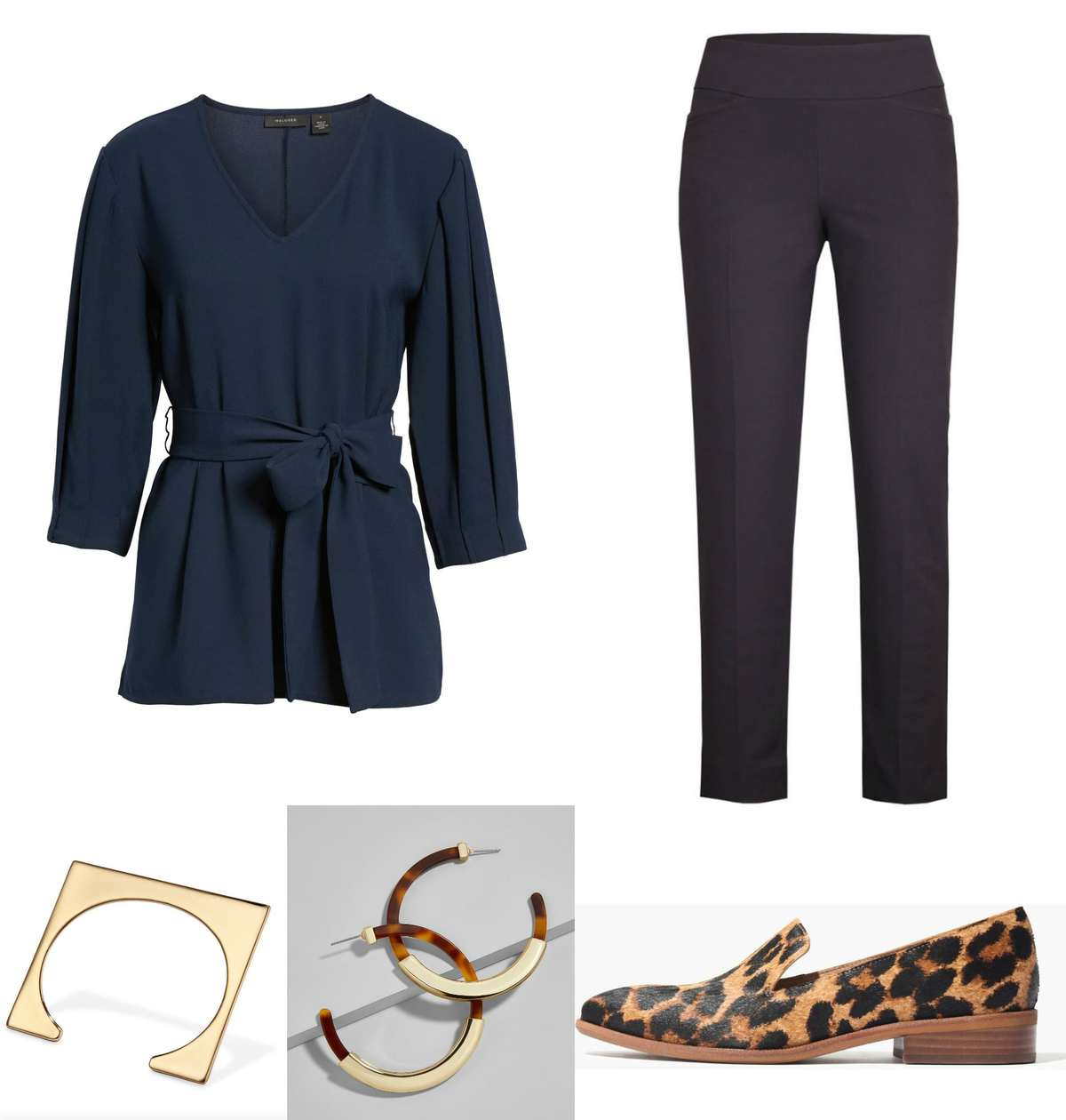 navy dress with leopard shoes