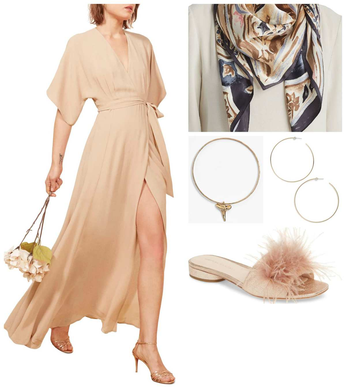 A maxi dress in a comfortable silhouette is a perfect choice when figuring out what to wear as a hostess and hosting a party in your home