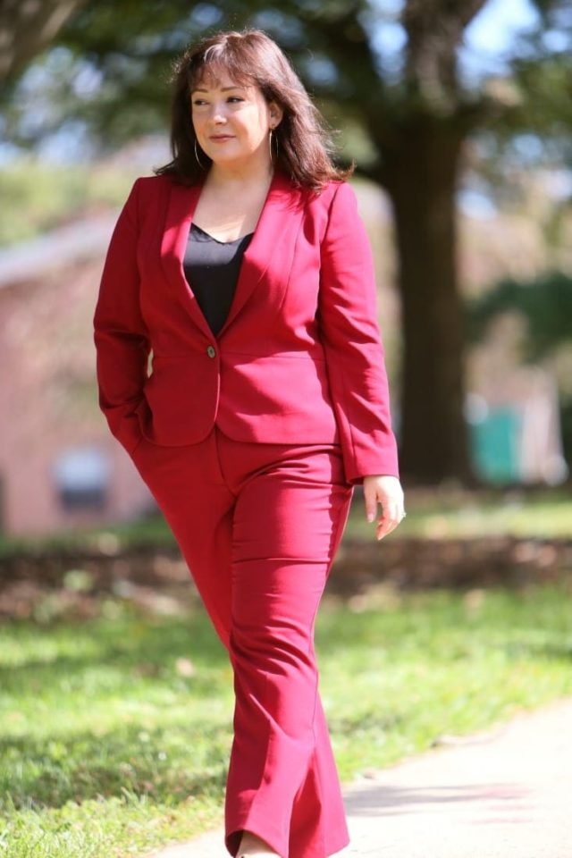 Wardrobe Oxygen in a red pantsuit from Talbots styled with leopard block heel pumps