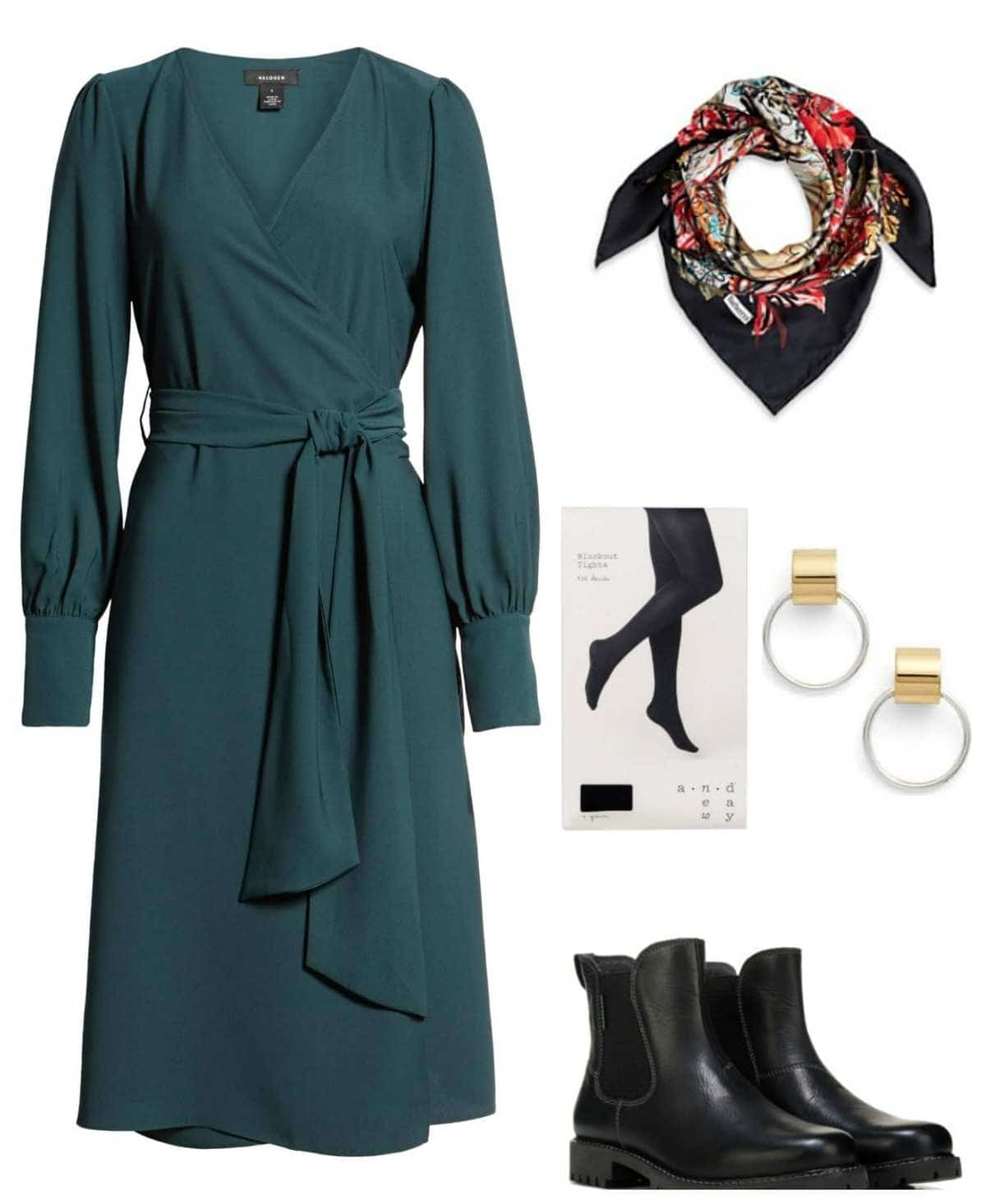 how to style a wrap dress for winter