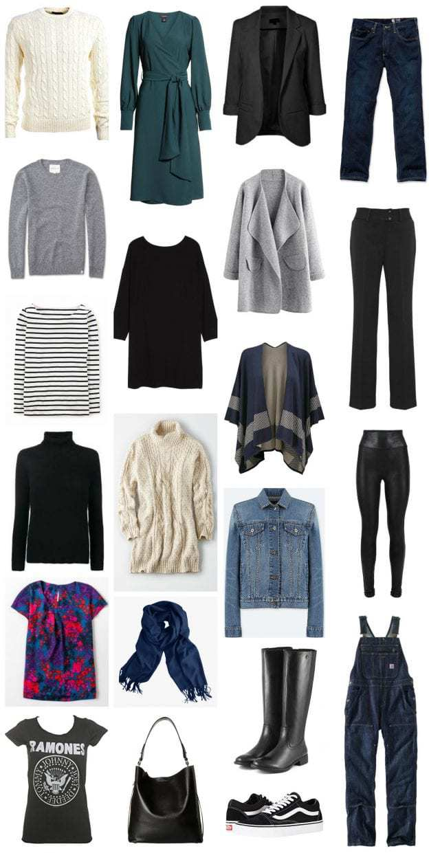 A casual capsule wardrobe for fall into winter. Click for tips on how to create over 45 outfits from this collection of pieces and how to accessorize.