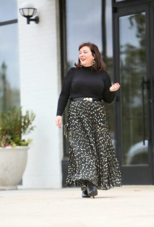I think I found the perfect turtleneck and it's from Chico's. Here I style it with a gold foil dot chiffon pleated maxi skirt