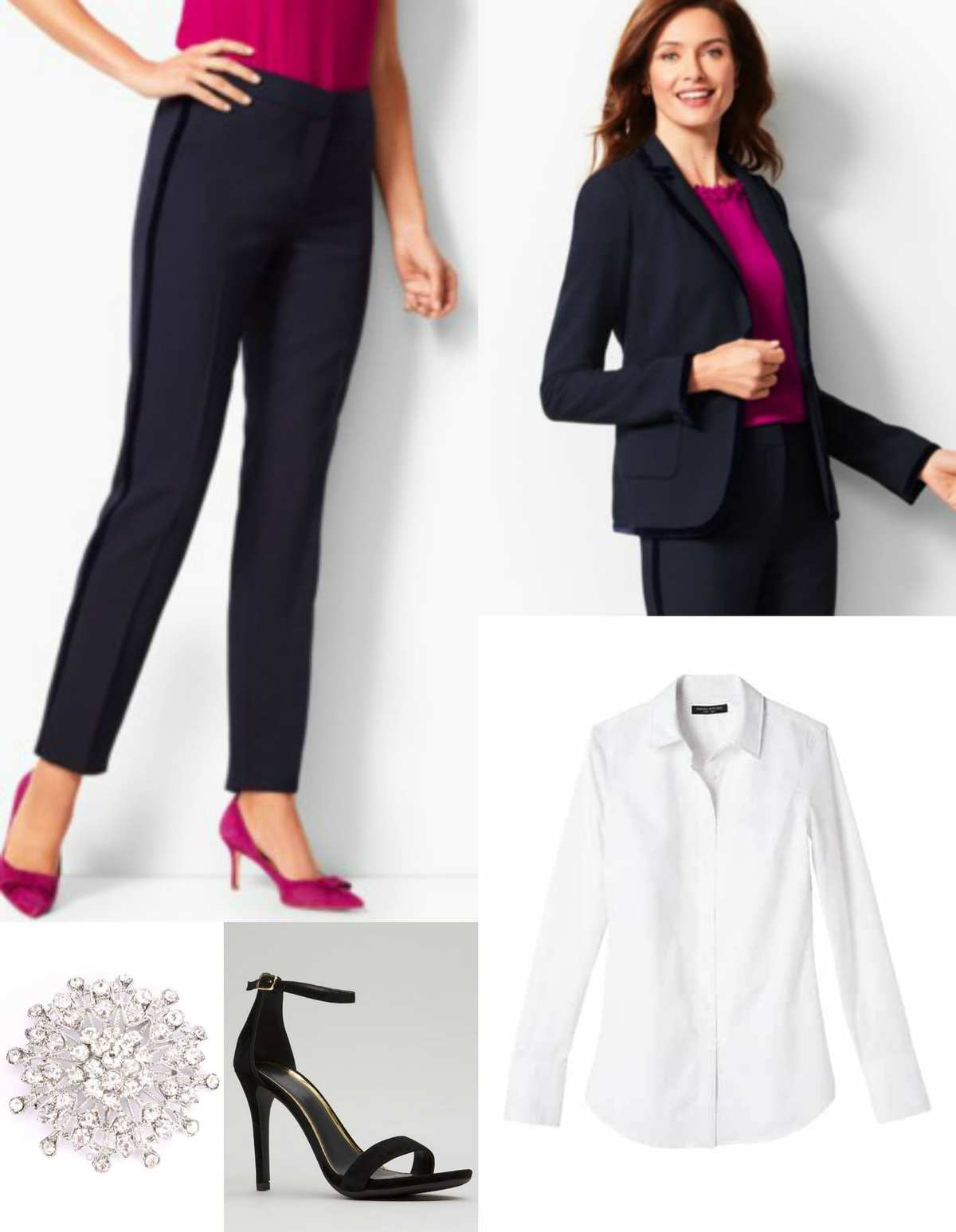 Navy velvet trimmed Talbots pantsuit with white button from shirt and a sparkly brooch