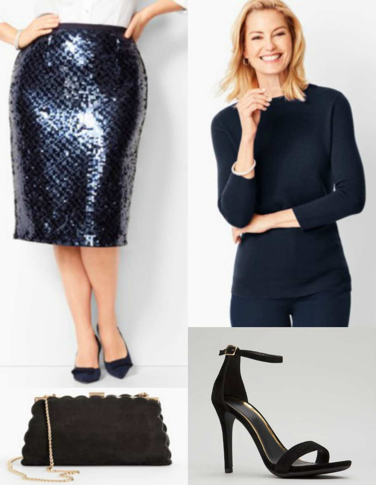 navy cashmere sweater with navy sequined skirt