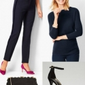 navy cashmere sweater with navy cigarette pants