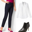 White button front shirt with navy cigarette pants