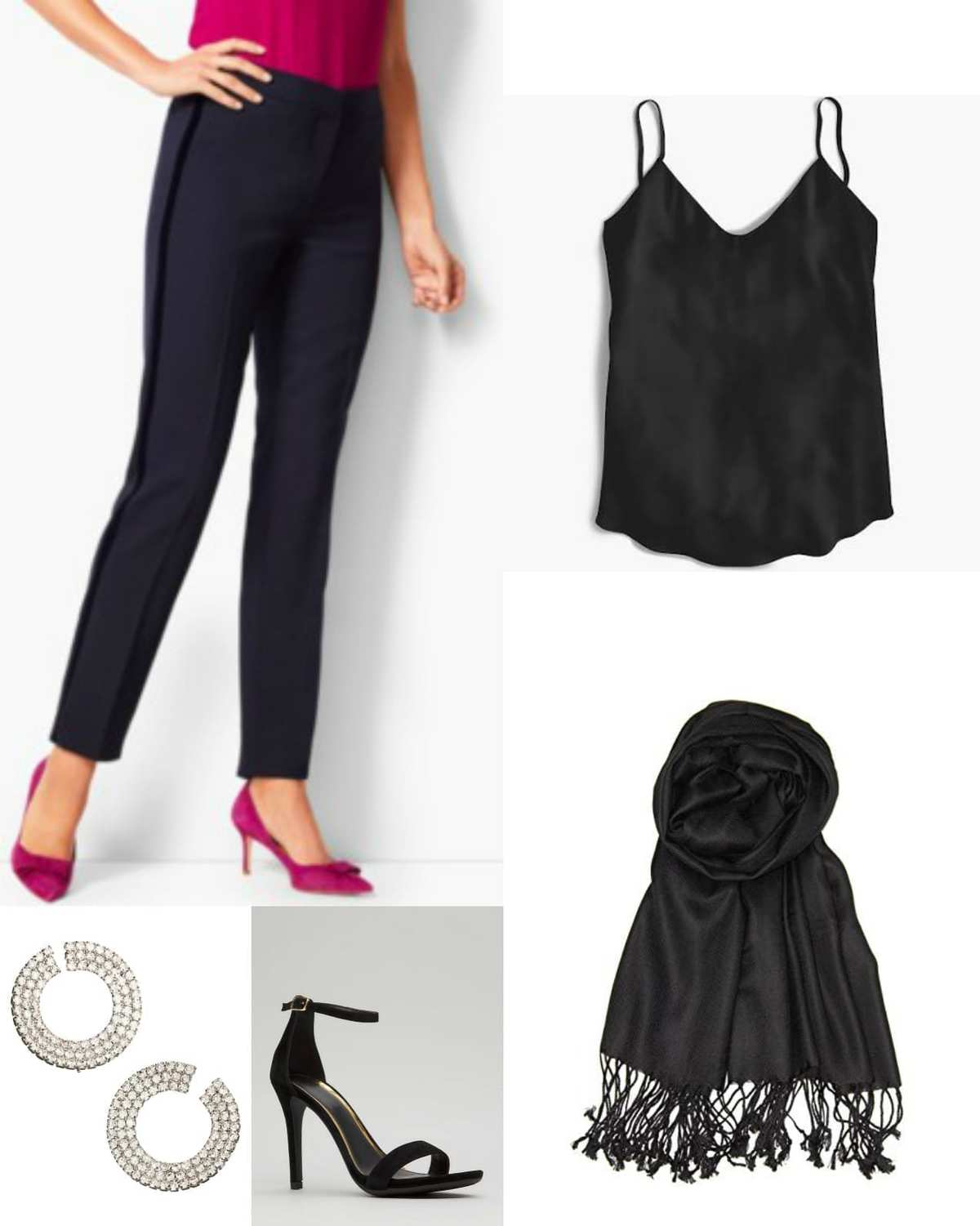 Black cami with navy tux cigarette pants