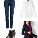 Navy blazer, ankle jeans, and a white shirt