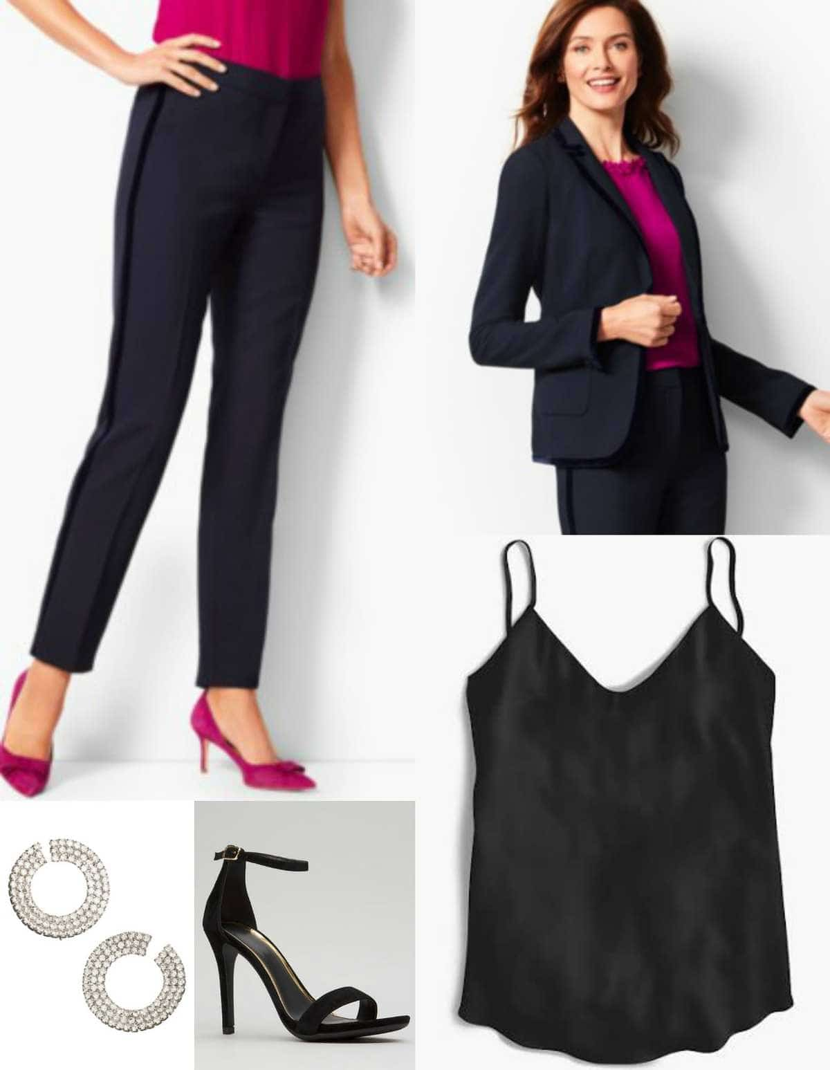 Talbots navy velvet trimmed pantsuit with black camisole and heels